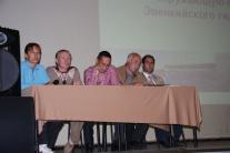 Общественные слушания по поводу строительства Эвенкийской ГЭС. Тура, июль 2008 г. Президиум