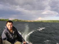 Из Подвального на Большое Советское озеро. У руля Иван Сайготин